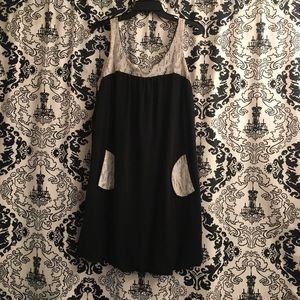 Dresses & Skirts - 60s Inspired Lil Black Dress w Lace Accents